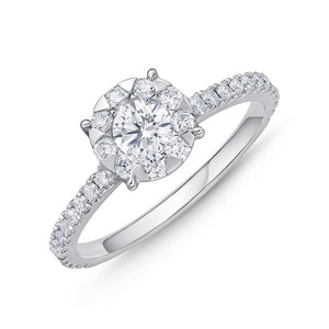 Memoire Diamond Bouquets White Gold Round Engagement Rings (0.72 ctw)