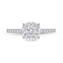 Load image into Gallery viewer, Memoire Diamond Bouquets White Gold Round Engagement Rings (0.72 ctw)