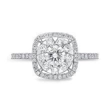 Load image into Gallery viewer, Memoire Diamond Bouquets White Gold Round Engagement Rings (0.61 ctw)