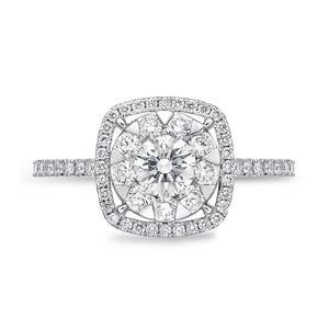 Memoire Diamond Bouquets White Gold Round Engagement Rings (0.78 ctw)