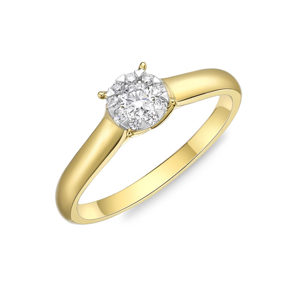 Memoire Diamond Bouquets Yellow Gold Round Engagement Rings (0.19 ctw)