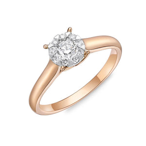 Memoire Diamond Bouquets Rose Gold Round Engagement Rings (0.31 ctw)