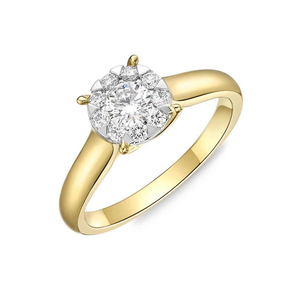 Memoire Diamond Bouquets Yellow Gold Round Engagement Rings (0.49 ctw)