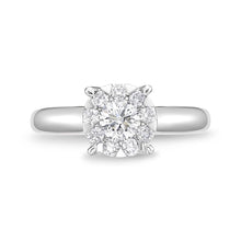 Load image into Gallery viewer, Memoire Diamond Bouquets White Gold Round Engagement Rings (0.65 ctw)