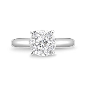 Memoire Diamond Bouquets White Gold Round Engagement Rings (0.65 ctw)