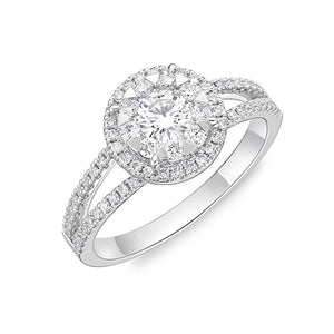 Memoire Diamond Bouquets White Gold Round Engagement Rings (0.58 ctw)