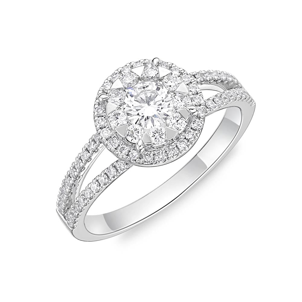 Memoire Diamond Bouquets White Gold Round Engagement Rings (0.67 ctw)