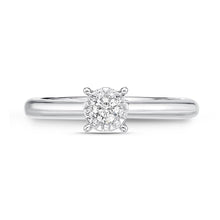 Load image into Gallery viewer, Memoire Diamond Bouquets White Gold Round Engagement Rings (0.21 ctw)
