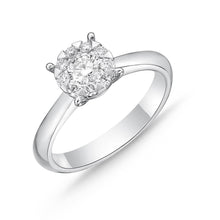Load image into Gallery viewer, Memoire Diamond Bouquets White Gold Round Engagement Rings (0.32 ctw)