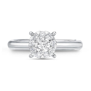 Memoire Diamond Bouquets White Gold Round Engagement Rings (0.32 ctw)