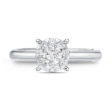 Load image into Gallery viewer, Memoire Diamond Bouquets White Gold Round Engagement Rings (0.47 ctw)