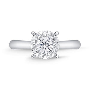 Memoire Diamond Bouquets White Gold Round Engagement Rings (0.63 ctw)