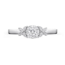 Load image into Gallery viewer, Memoire Diamond Bouquets White Gold Round Engagement Rings (0.18 ctw)
