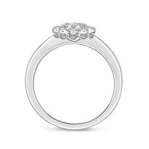 Memoire Diamond Bouquets White Gold Round Engagement Rings (0.27 ctw)
