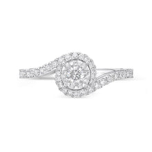 Load image into Gallery viewer, Memoire Diamond Bouquets White Gold Round Engagement Rings (0.52 ctw)