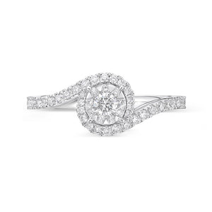 Memoire Diamond Bouquets White Gold Round Engagement Rings (0.52 ctw)
