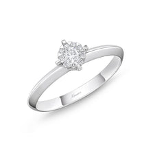 Load image into Gallery viewer, Memoire Diamond Bouquets White Gold Round Engagement Rings (0.16 ctw)