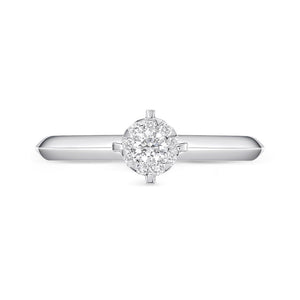 Memoire Diamond Bouquets White Gold Round Engagement Rings (0.16 ctw)