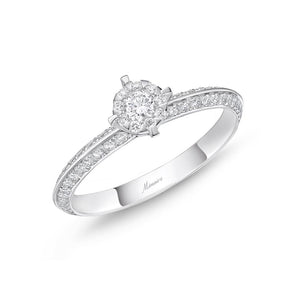 Memoire Diamond Bouquets White Gold Round Engagement Rings (0.51 ctw)