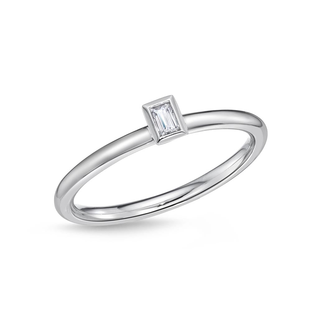 Memoire Stack'em Up White Gold Baguette Diamond Rings (0.09 ctw)