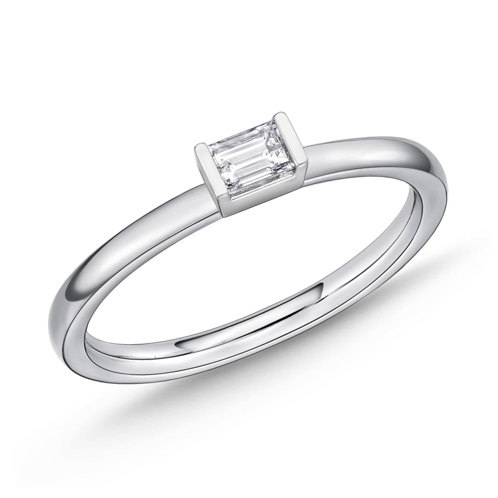 Memoire Stack'em Up White Gold Baguette Diamond Rings (0.17 ctw)