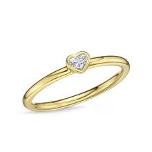 Load image into Gallery viewer, Memoire Stack'em Up Yellow Gold Heart Diamond Rings (0.11 ctw)