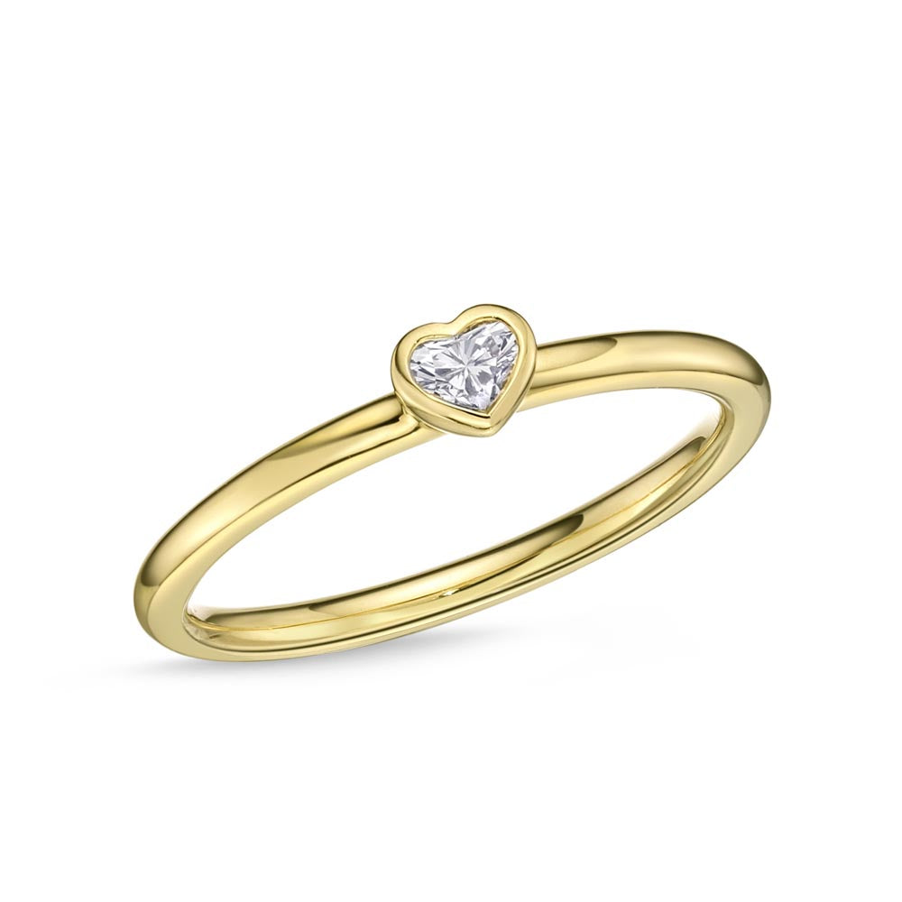 Memoire Stack'em Up Yellow Gold Heart Diamond Rings (0.11 ctw)