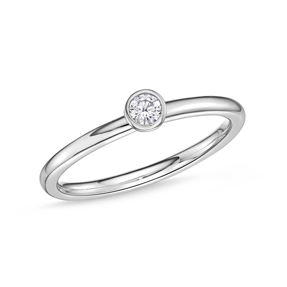 Memoire Stack'em Up White Gold Round Diamond Rings (0.1 ctw)