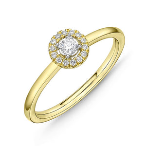 Memoire Stack'em Up Yellow Gold Round Diamond Rings (0.1 ctw)
