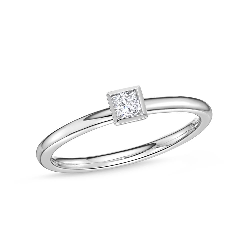 Memoire Stack'em Up White Gold Princess Diamond Rings (0.15 ctw)