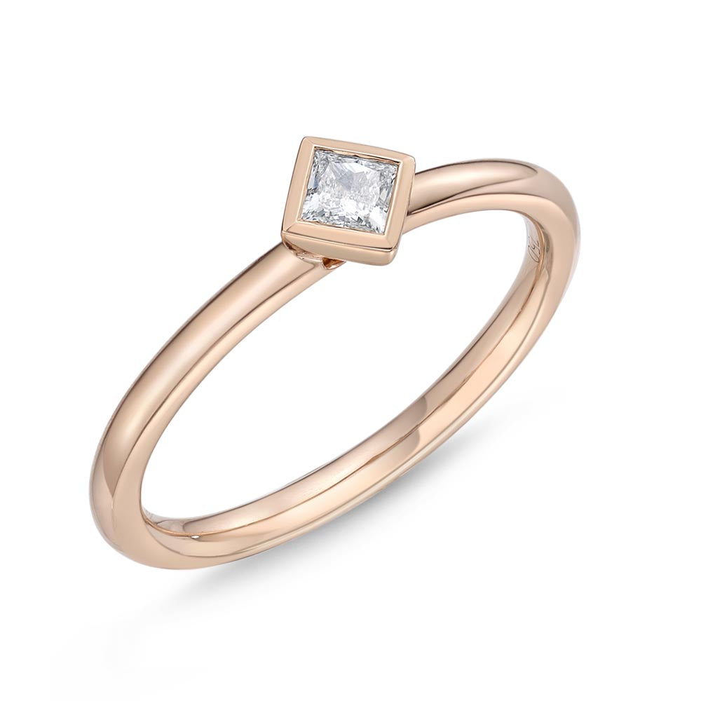 Memoire Stack'em Up Rose Gold Princess Diamond Rings (0.14 ctw)