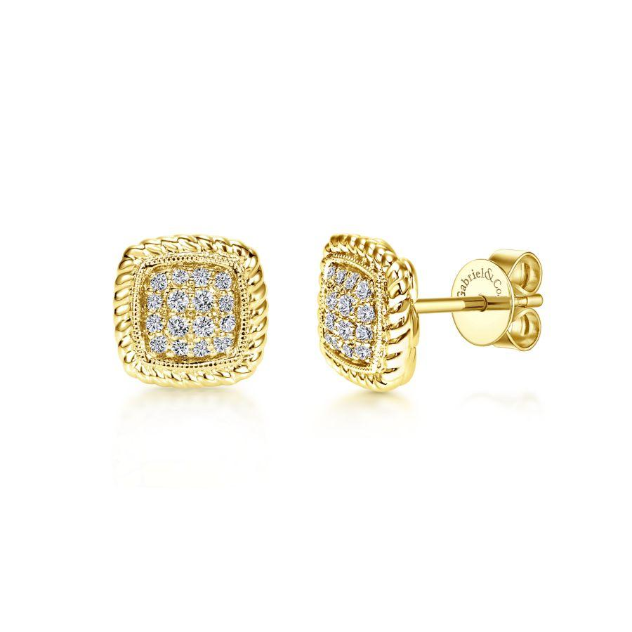 Gabriel & Co. Hampton Yellow Gold Earrings (0.18 CTW)