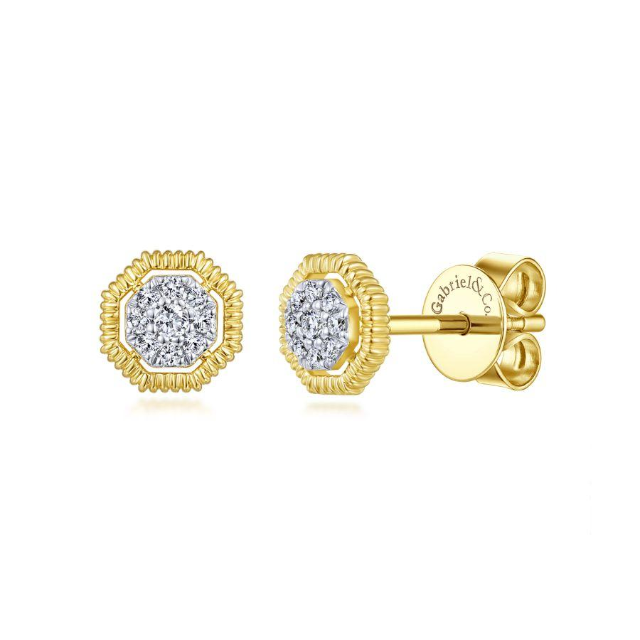 Gabriel & Co. Contemporary Yellow Gold Earrings (0.11 CTW)