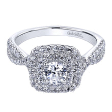 Load image into Gallery viewer, Gabriel Bridal Collection White Gold Double Halo Engagement Ring (0.5 ctw)