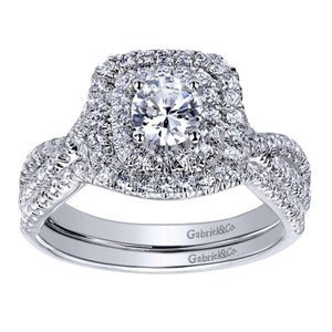 Gabriel Bridal Collection White Gold Double Halo Engagement Ring (0.5 ctw)
