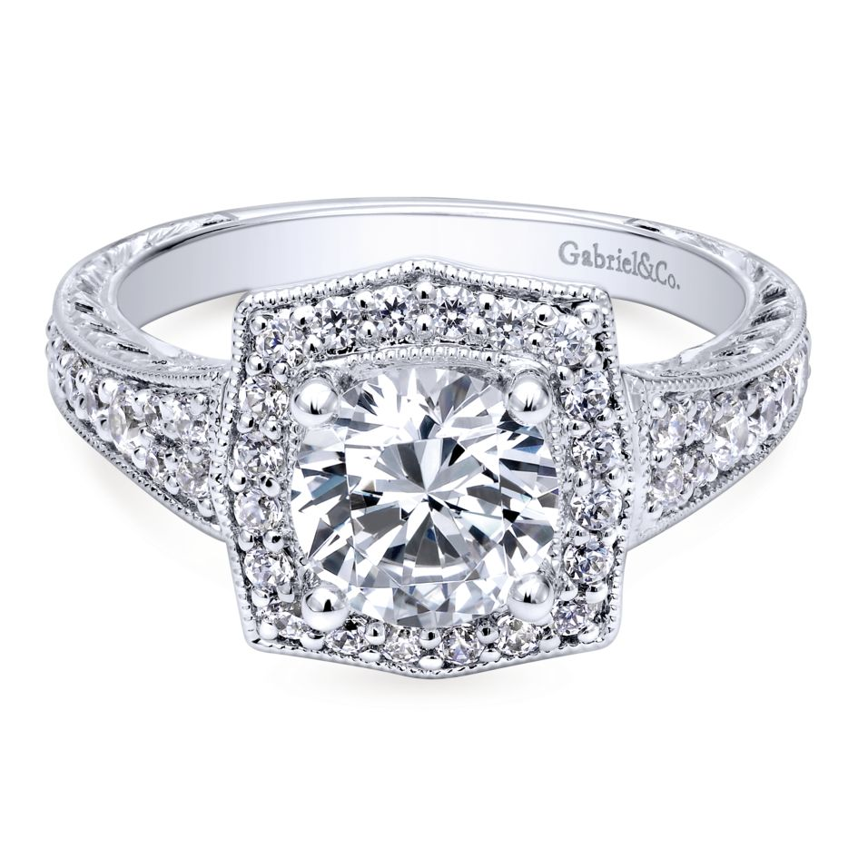 Gabriel Bridal Collection White Gold Channel and Hand Cut Etched Round Halo Diamond Engagement Ring (0.59 ctw)