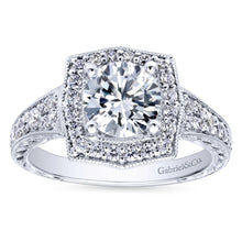 Load image into Gallery viewer, Gabriel Bridal Collection White Gold Channel and Hand Cut Etched Round Halo Diamond Engagement Ring (0.59 ctw)
