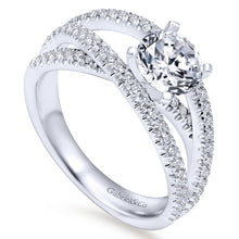 Load image into Gallery viewer, Gabriel Bridal Collection White Gold French Diamond Accent Free Form Basket Center Diamond Engagement Ring (0.57 ctw)