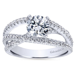 Gabriel Bridal Collection White Gold French Diamond Accent Free Form Basket Center Diamond Engagement Ring (0.57 ctw)