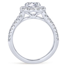Load image into Gallery viewer, Gabriel Bridal Collection White Gold Diamond Diamond Accent Split Shank Halo Engagement Ring (0.83 ctw)