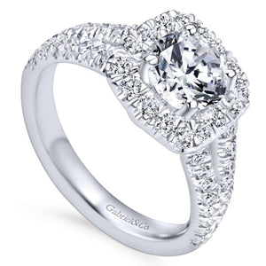 Gabriel Bridal Collection White Gold Diamond Diamond Accent Split Shank Halo Engagement Ring (0.83 ctw)