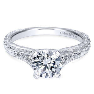 Gabriel Bridal Collection White Gold Straight Channel and Hand Cut Etching Diamond Engagement Ring (0.15 ctw)