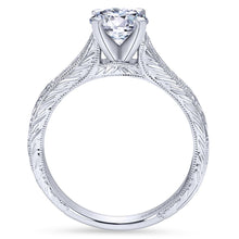 Load image into Gallery viewer, Gabriel Bridal Collection White Gold Straight Channel and Hand Cut Etching Diamond Engagement Ring (0.15 ctw)