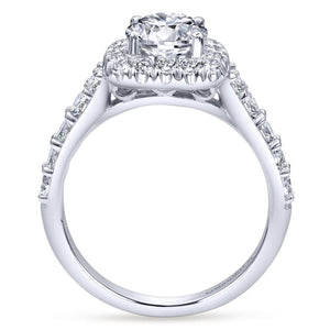 Gabriel Bridal Collection White Gold Graduating Diamond Accent Diamond Round Halo Engagement Ring (0.82 ctw)