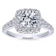 Load image into Gallery viewer, Gabriel Bridal Collection White Gold Graduating Diamond Accent Diamond Round Halo Engagement Ring (0.82 ctw)