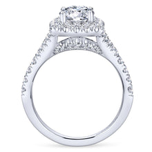 Load image into Gallery viewer, Gabriel Bridal Collection White Gold Diamond Diamond Accent Halo Engagement Ring (0.82 ctw)