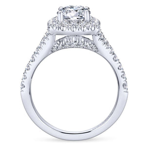 Gabriel Bridal Collection White Gold Diamond Diamond Accent Halo Engagement Ring (0.82 ctw)