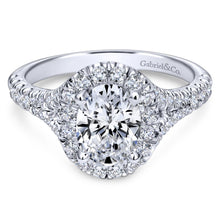 Load image into Gallery viewer, Gabriel Bridal Collection White Gold Diamond Accent Shank and Oval Diamond Halo Engagement Ring (0.71 ctw)