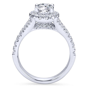 Gabriel Bridal Collection White Gold Diamond Accent Shank and Oval Diamond Halo Engagement Ring (0.71 ctw)