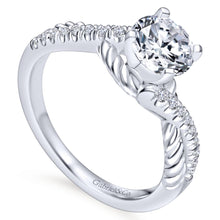 Load image into Gallery viewer, Gabriel Bridal Collection White Gold Diamond Diamond Accent and Roped Criss Cross Engagement Ring (0.17 ctw)